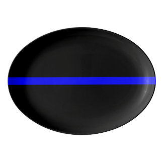 Symbolic Thin Blue Line  graphic design on Porcelain Serving Platter