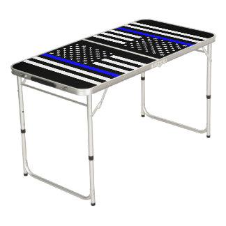 Symbolic Thin Blue Line US Flag graphic design on Pong Table