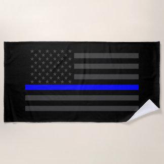 Symbolic Thin Blue Line US Flag graphic on a Beach Towel