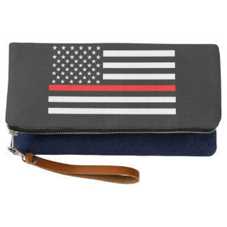 Symbolic Thin Red Line American Flag graphic on a Clutch