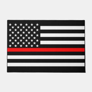 Symbolic Thin Red Line US Flag graphic design on Doormat