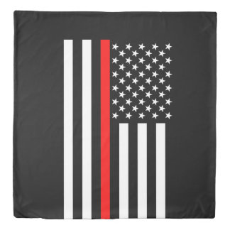 Symbolic Thin Red Line US Flag graphic design on Duvet Cover