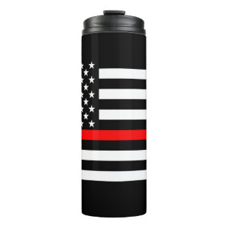 Symbolic Thin Red Line US Flag graphic design on Thermal Tumbler