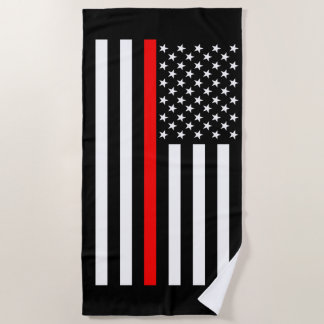 Symbolic Thin Red Line US Flag Graphic on a Beach Towel