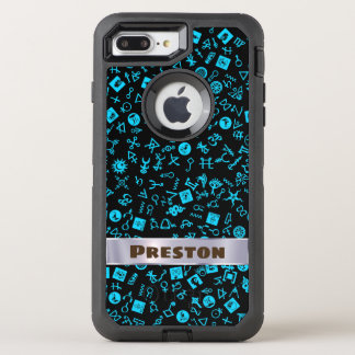 Symbolicon Blue and Black with Your Name OtterBox Defender iPhone 8 Plus/7 Plus Case
