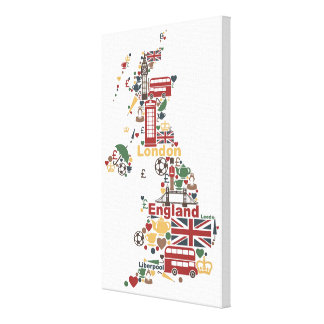 Symbols of England Map Canvas Print