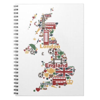 Symbols of England Map Notebook