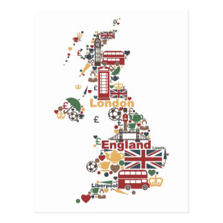 Symbols of England Map Postcard