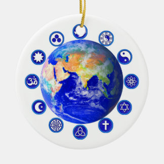 Symbols of Peace and Unity Around Planet Earth Round Ceramic Ornament