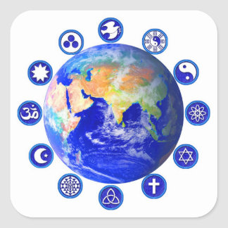 Symbols of Peace and Unity Around Planet Earth Square Sticker