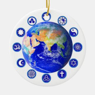 Symbols of peace, unity and religion round ceramic ornament