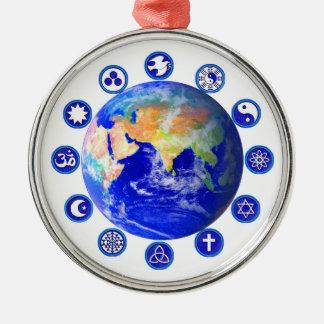 Symbols of peace, unity and religion Silver-Colored round ornament