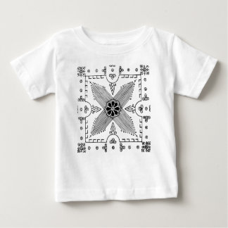 Symmetrical Indonesian Textile Flower Pattern Baby T-Shirt