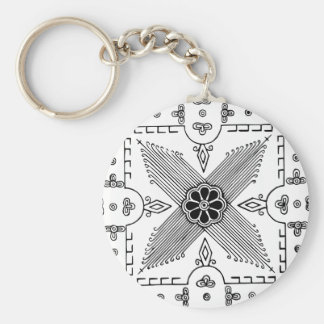 Symmetrical Indonesian Textile Flower Pattern Keychain
