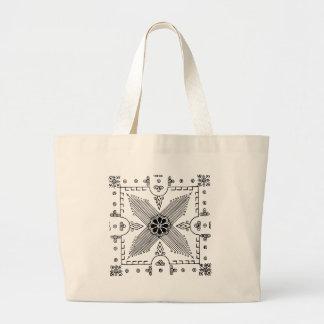 Symmetrical Indonesian Textile Flower Pattern Large Tote Bag