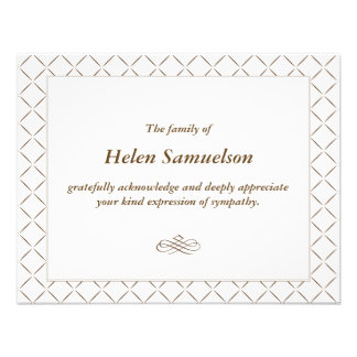 Sympathy Acknowledgment Card Announcement