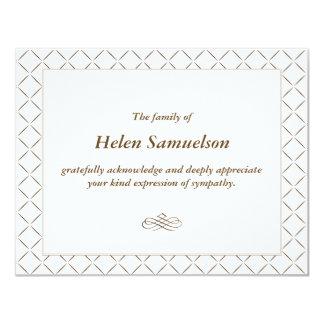 "Sympathy Acknowledgment Card 4.25"" X 5.5"" Invitation Card"