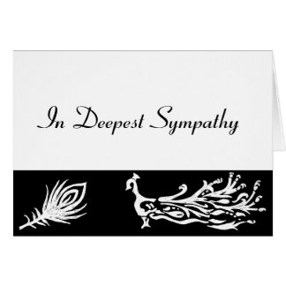 Sympathy Black & White Peacock Feather Card
