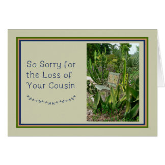 Sympathy Card for Cousin with Bench and Plants