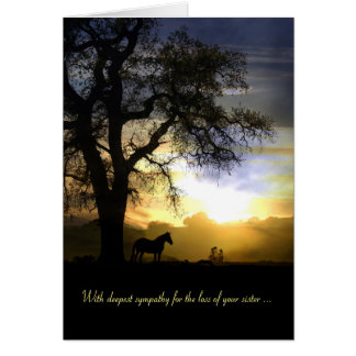 Sympathy Card for Loss of Sister Horse and Sunset