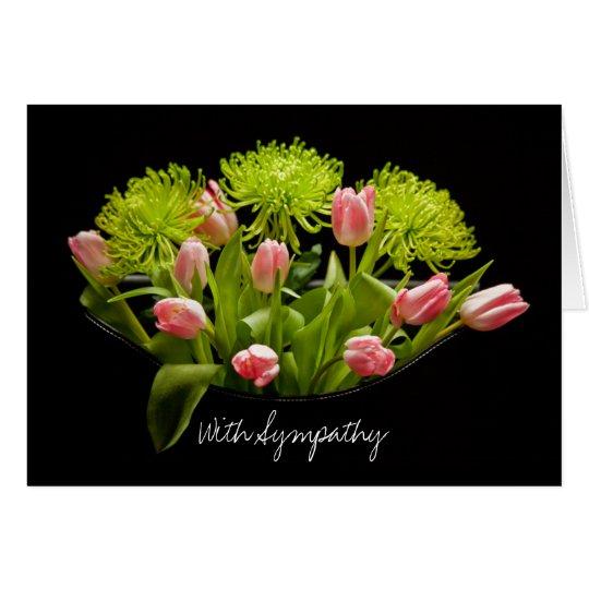 Sympathy Card Tulips Flower Arrangement