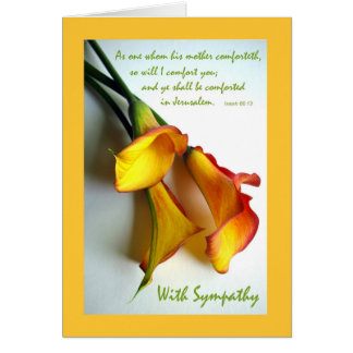 Sympathy for Loss of Mother, Calla Lilies Greeting Card
