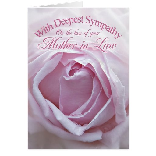 Sympathy for loss of Mother-in-Law, a  pink rose Greeting Cards