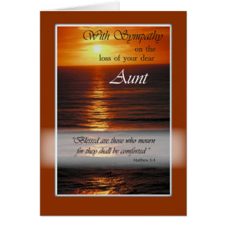 Sympathy Loss of Aunt, Sunset Over Ocean, Relig Card