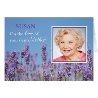 Sympathy Loss of Mother, Custom Photo, Name, Purpl Greeting Card