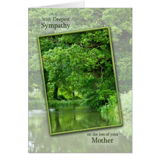 Sympathy loss of mother tranquil river scene greeting card