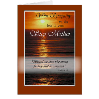Sympathy Loss of Step Mother, Sunset Over Ocean Greeting Card