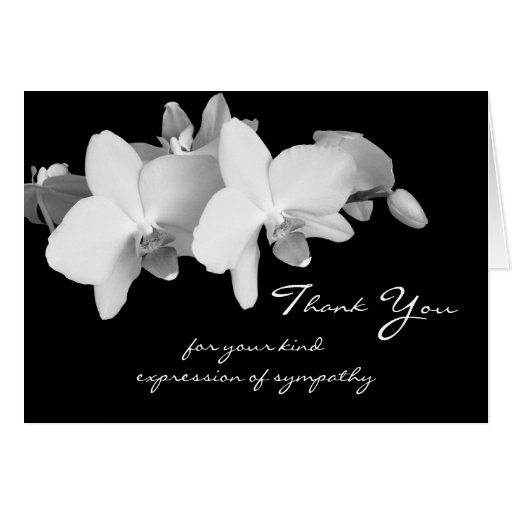 sympathy memorial thank you note card orchids zazzle