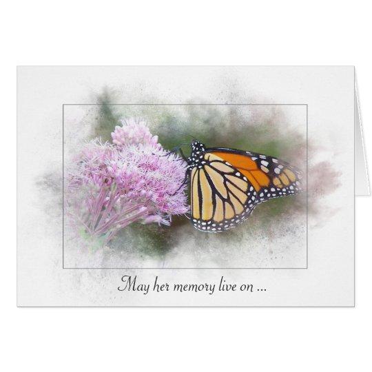 sympathy-monarch butterfly on wildflower card