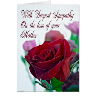 Sympathy on loss of mother, with a red rose greeting card