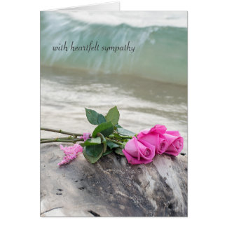 sympathy-pink rose bouquet on driftwood card