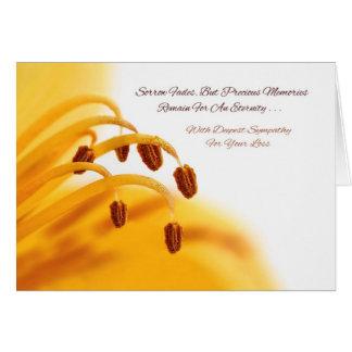 Sympathy Precious Memories Yellow Lily Flower Greeting Card