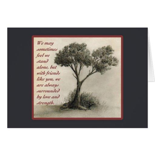 Sympathy Thank You Friend Tree Drawing Card Zazzle