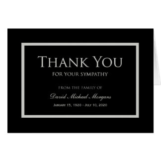 Sympathy Thank You Note Card Black and Grey