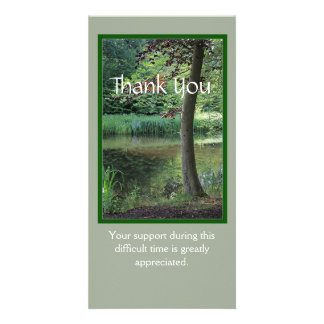Sympathy Thank You photo card with tree at water
