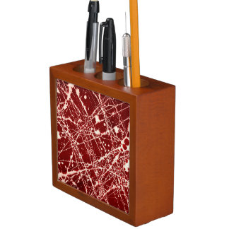 SYNAPSES (a red abstract art design) ~ Desk Organizer