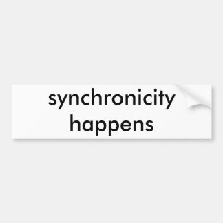 synchronicity (white on black) bumper sticker