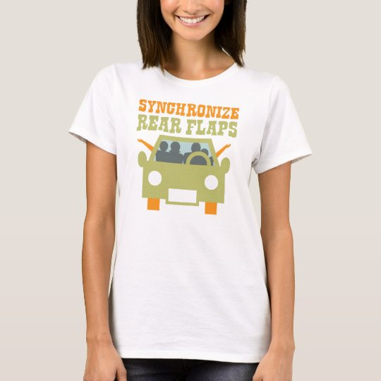 Synchronize Rear Flaps Funny Retro Pop Culture T-Shirt