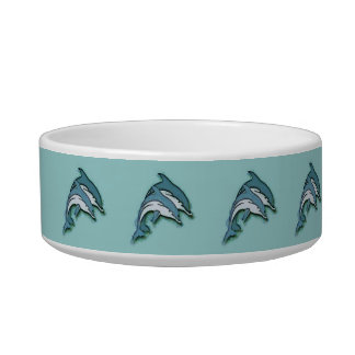 SYNCHRONIZED DOLPHINS CAT FOOD BOWLS