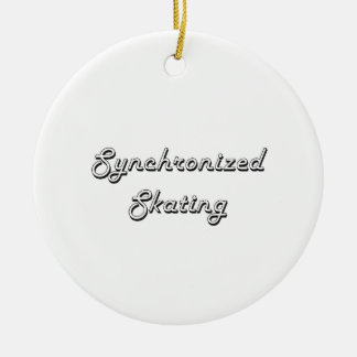 Synchronized Skating Classic Retro Design Round Ceramic Ornament