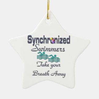 Synchronized swimmers ceramic star ornament