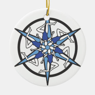 Synchronized Swimming Circle Logo in Blue Ceramic Ornament