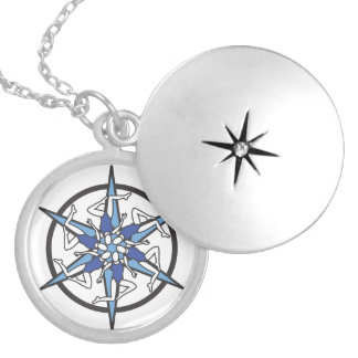 Synchronized Swimming Circle Logo in Blue Silver Plated Necklace