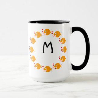 Synchronized Swimming Goldfish Cute Monogrammed Mug