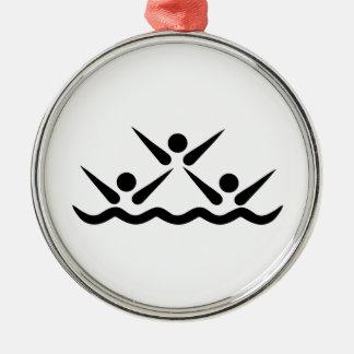 Synchronized swimming icon Silver-Colored round ornament
