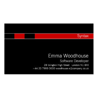 Syntax Black & Red Pack Of Standard Business Cards